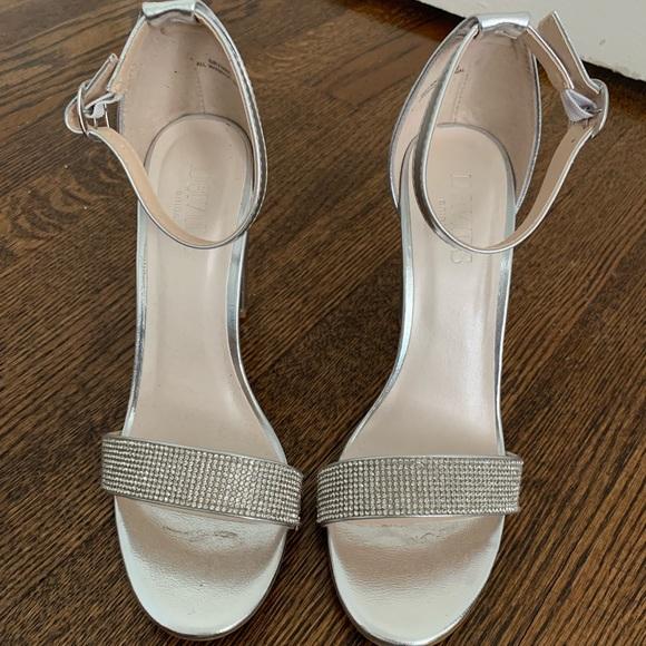 0c240d63b David s Bridal Shoes - CRYSTAL-STRAP METALLIC BLOCK HEEL SANDALS